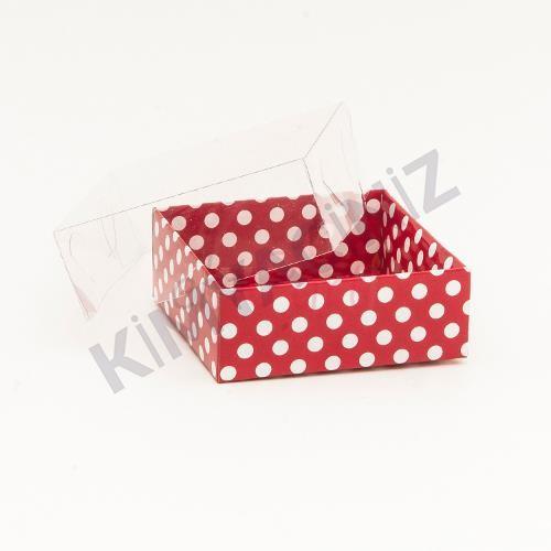 Diğer - Kırmızı Puantiyeli Asetat Kutu 8-8-3 50 Adet