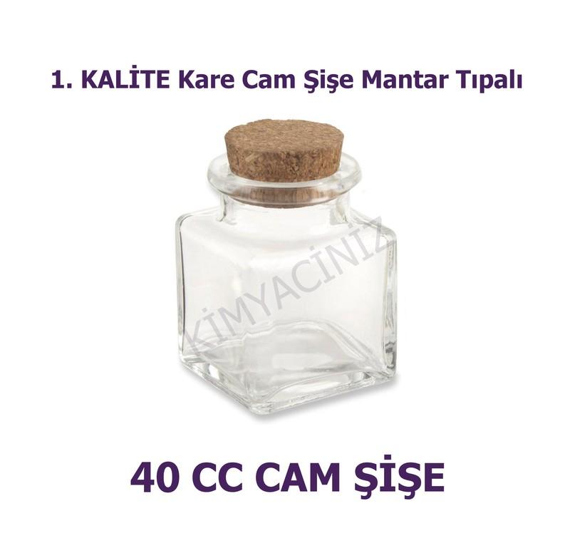- Mantar Tıpalı Kare Cam Şişe 40 Cc ( 100 adet )