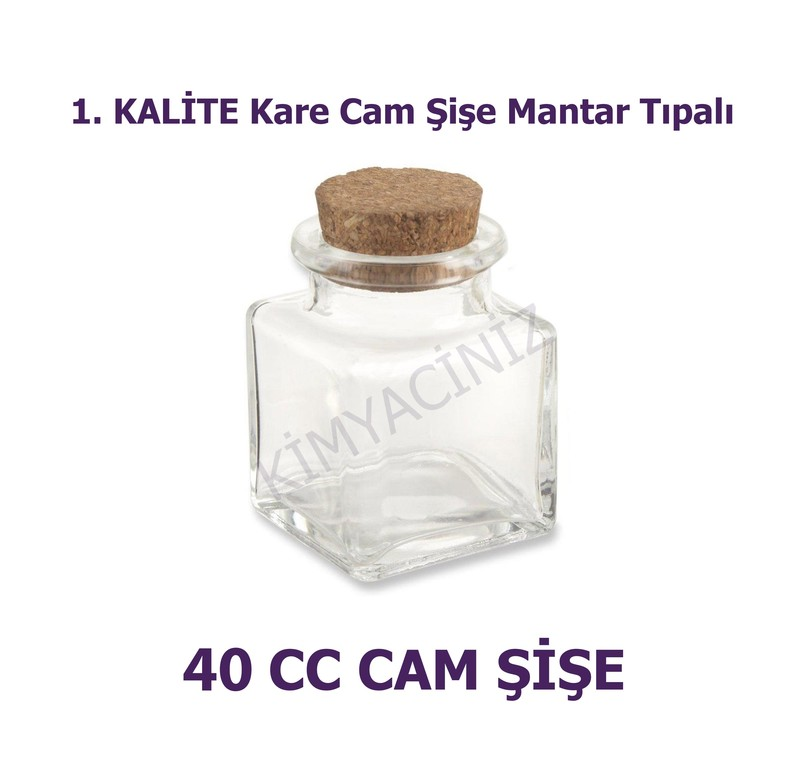 - Mantar Tıpalı Kare Cam Şişe 40 Cc ( 20 adet )